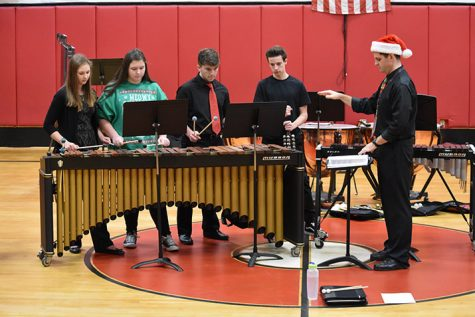Percussion ensemble performs for elementary school students (photo)