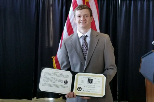 "ACHIEVE — As the college search process kicks off for the junior class, junior Zach Turnitza has his sights set on a military academy. He is the 2018 PAHS recipient of the Dwight D. Eisenhower Leadership Award, which is given to a student who demonstrates excellence in the areas of academics, leadership, community service and athletics. ""The Dwight D. Eisenhower award was more of a wake-up call than an award for me,"" Turnitza said. ""When I walked onto the campus, it suddenly hit me that I had to start to focus more on school and sports and cut out the extra in my life if I wanted to get into a service academy. [West Point] was a very nice school, and it wouldn't be a bad place to call home for the next four years. Turnitza traveled with his family to West Point, NY, for an April 21 awards ceremony held at the university to honor him along with other recipients."
