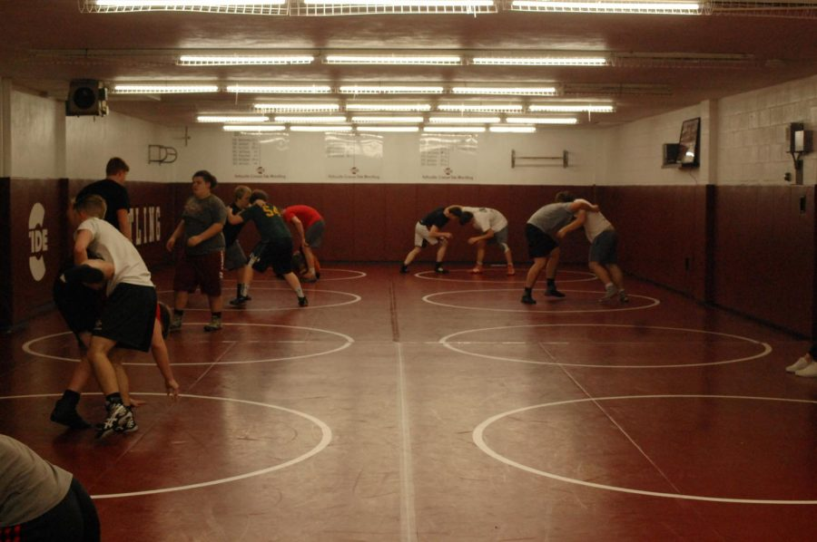 Wrestlers+practice+their+moves.