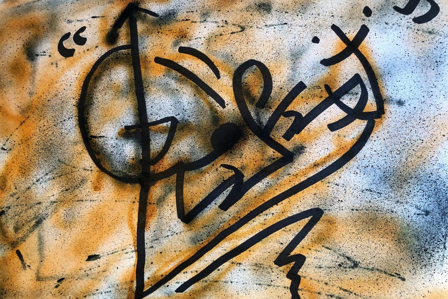 One of Emmett Kraft's works in the form of graffiti.