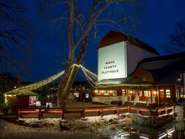 A photo of the Bucks County Playhouse at night. Photo courtesy of http://www.visitbuckscounty.com/listing/bucks-county-playhouse/1726/