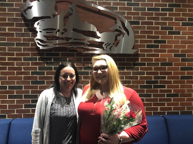 "Junior Samantha Mihoda and Mrs. Crystal Pugh smile together for their picture. Samantha just graduated from the YEA program. She said, ""I knew since I was younger I wanted to make makeup apart of my future, and the YEA program helped me start that early."""