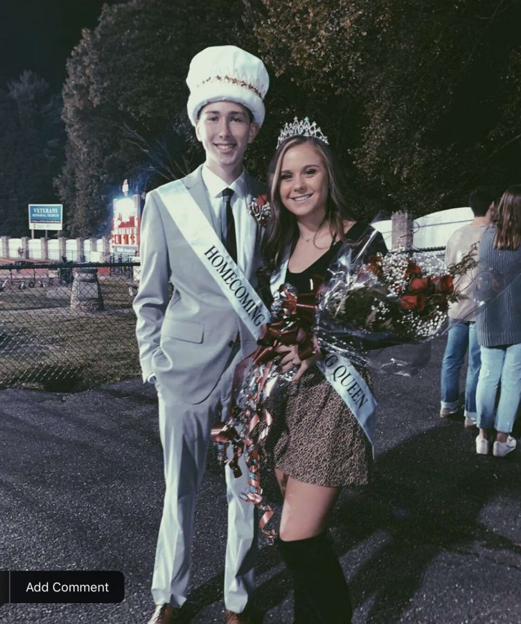 Homecoming+King%2C+Owen+Golden+and+Homecoming+Queen%2C+Madison+Dalton+stood+together+after+being+crowned.+After+being+crowned%2C+the+two+stand+together+in+excitement%2C+as+they+will+become+future+role+models+of+PAHS.+%E2%80%9CI+ran+for+homecoming+king+because+I+asked+my+friends+if+I+should+run+and+they+said+yes%2C+you+would+win%2C%E2%80%9D+senior+Golden+said.+%0A