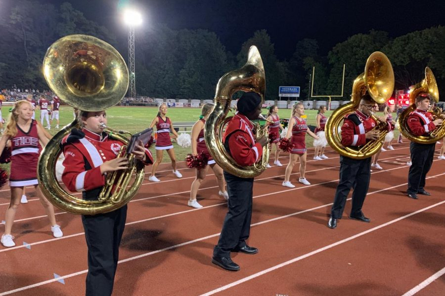 Seventh+grader+Jillian+Horvath+plays+with+the+PAHS+marching+band+during+the+home+game+against+Wyomissing+on+August+30.+Jillian+plays+the+tuba+for+the+band%2C+and+enjoys+playing+for+the+band+due+to+the+positive+impact+music+has+had+on+her+life.+%22...sometimes+I+get+a+little+too+emotional+and+it+%28music%29+helps+me+through.%22+