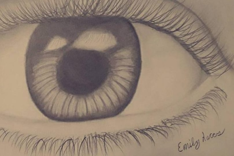 Freshman Emily Lucas drew this eye because she was interested in the drawing in the realist ic style.