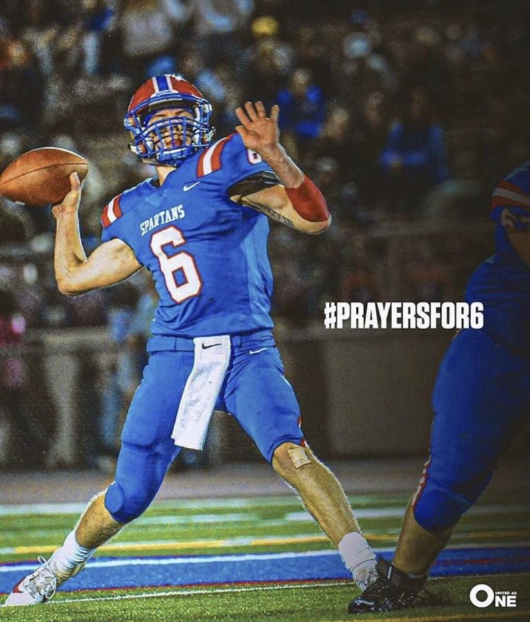 +North+Schuylkill+senior%2C+Jaden+Leiby%2C+is+throwing+the+ball+to+another+teammate.+During+the+game+on+October+25%2C+he+was+seriously+injured+making+a+tackle.+Countless+thoughts+and+prayers+outpoured+from+the+community+in+hopes+of+a+speedy+recovery.+Hashtags+like+the+one+pictured+above+have+been+circulating+throughout+social+media+in+support+of+Jaden.+