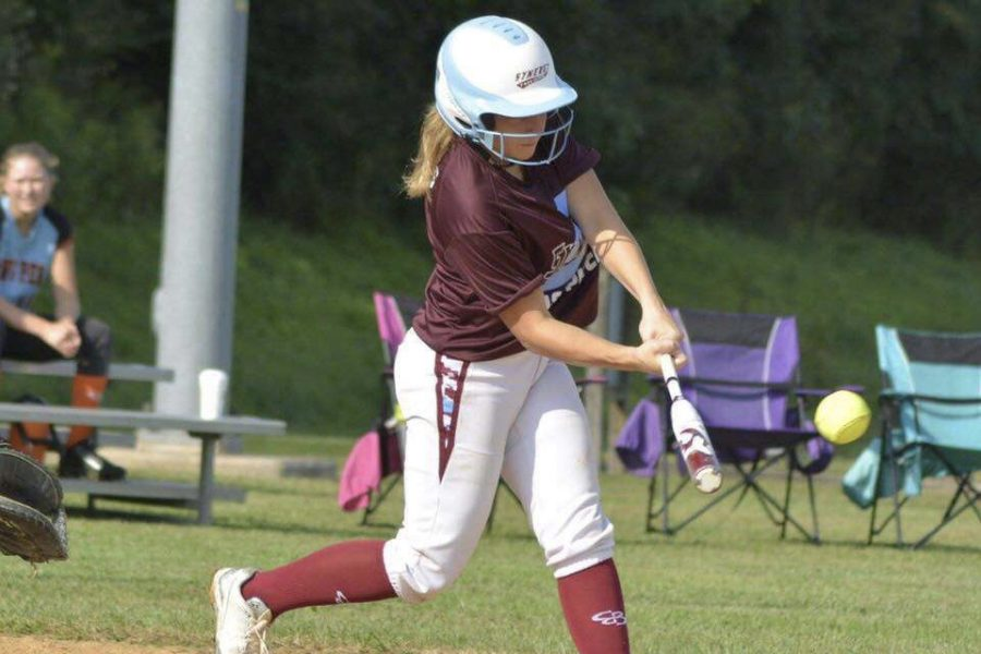 Mia+Bowers%2C+eighth+grade%2C+swings+a+bat+during+a+PA+Synergy+game+this+past+summer.+Bowers+was+selected+to+play+for+the+Under+Armour+National+Softball+Team+in+Oklahoma+City%2C+Okla.%2C+to+compete+in+the+national+event+this+past+june.+%E2%80%9CThe+event+in+Oklahoma+was+both+challenging+and+rewarding%E2%80%9D%2C+Bowers+said.