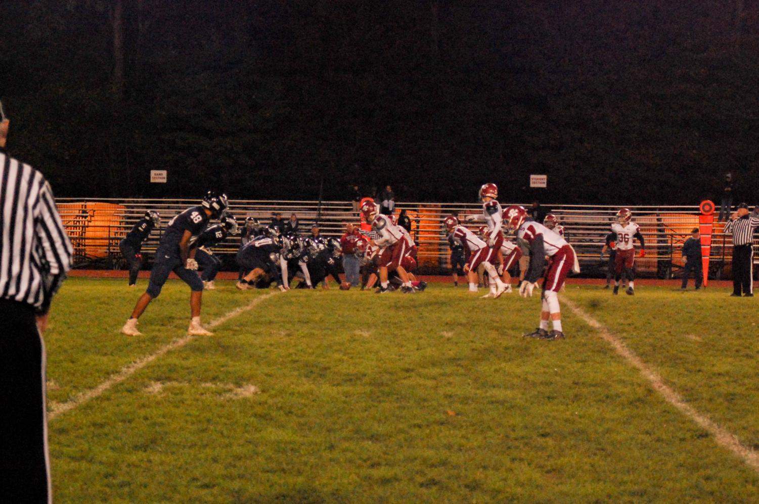 Pottsville's defense prepares to defend during a junior varsity game against Blue Mountain.