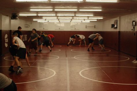 Wrestlers practice for the upcoming season