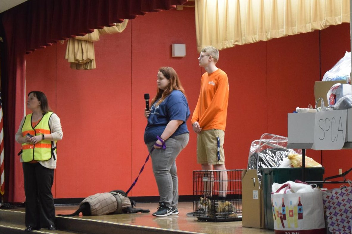 Firs grade students at John S. Clarke Elementary Center attended an assembly to learn about animals at the Hillside SPCA.