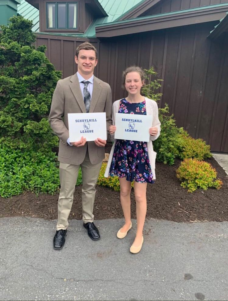 "Seniors Zach Turnitza and Alexis Yoder pose with their scholar athlete awards presented to them by the Schuylkill League. This award is the result of their academic and athletic success. Alexis said, ""It validated all of my hard work in the classroom and on the field."""